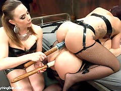 Two beautiful girls, Tara Lynn Foxx and Mischa Brooks, get a full dose of kinky lesbian action...