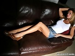 Brown haired amateur exgirlfriend Faith showing big round melons and stripping jeans skirt for...
