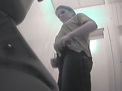 Voyeur videos from ladies room in warehouse toilet