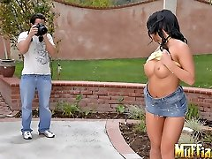 Amazing big ass tits asian babe mya milani gets a huge dong stuck up her pussy in these hot...
