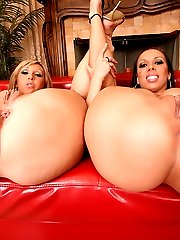 2 smokin hot ass babes come home from a night out then share a big dong in these hot double...