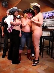 The girls play with each other in the BBW orgy set and the guys get in some good groping