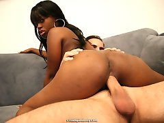 Hot ebony girl likes sucking big white dick