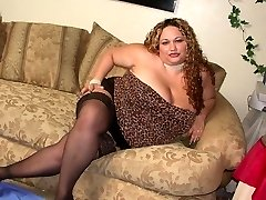 BBW in lingerie giving a blowjob