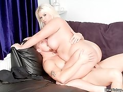 Depraved BBW blonde with a tat on her giant ass plowed by a complete stranger