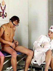 Femdom nurses examine and make a guy cum