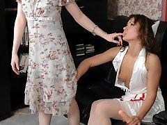 Hot nurse slipping under the skirt of mature babe aching to taste ripe twat