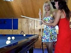 Sapphic babes learn the ropes of lez kissing and play on the billiard table
