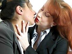 Lesbian spankings in nylons