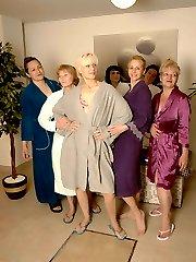 Mature ladies unwinding in an all female sauna
