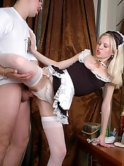 Lusty maid in white stockings knows the best options for sizzling fucking