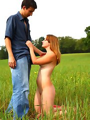In the soft grass of this field, this teen has her soft pussy penetrated and pounded. She looks...