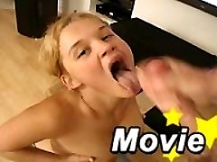 Awesome teen Christine Young giving a headjob on her knees