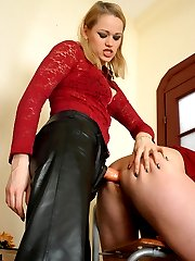Blondie with strap-on turning lewd sissy guy into her own ass-fucking whore