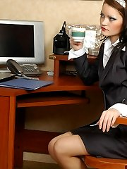 Sex-crazy secretary using her strap-on like a pro while ass-pumping a guy