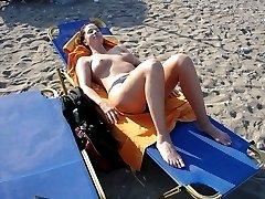 Blonde Russian nudist sunbathes bare x nudism picture set