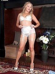 Blonde Abi in flimsy blouse, pencil skirt, sheer nylon panties and glossy nylons!