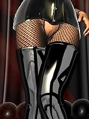 Fetish babe in latex corset thigh high boots and fishnet stockings