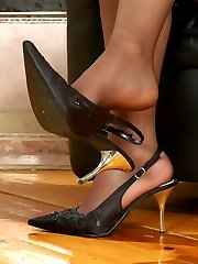 Lewd French maid starts licking feet encsed in tan reinforced toe pantyhose