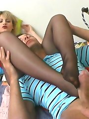 Blondie rubbing throbbing cock with her nylon feet before doggystyle frenzy