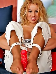 Freaky blonde chick in soft silky pantyhose sucking dildo in sexy positions