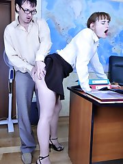 Young assistant in barely there pantyhose getting nailed by a horny boss