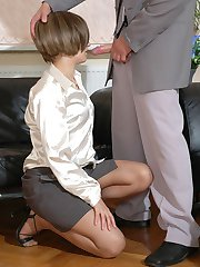Steamy gals in nylon pantyhose revealing their oral skills at job interview