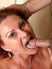 Plump granny Blue Iris taking a huge dick in her mouth and gets covered with fresh goo