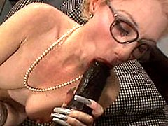 Sexy older chick eating dark meat