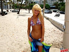 Amazing sexy teenie bikini babes masturbate and strip at the beach shower then get fucked hard...