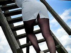 public upskirt in black pantyhose