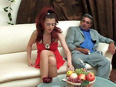 Dressed to kill young girl tempting an older man into sizzling hot quickie