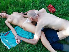 Super hot girlfriend sunbathes nude and ends up nailed by guys filthy father
