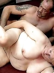 Slutty granny bending over to have her fat fanny fucked