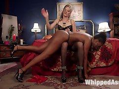 Horny dominatrix Mistress Mona Wales orders up kinky call girl to entertain her sexy sadistic...