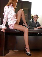 Curvy secretary in sheer pantyhose seducing her boss into wild fuck-fest