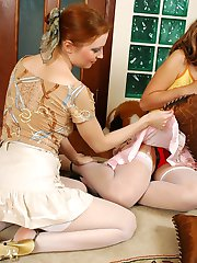 Heated redhead in white nylons showing her shy friend hot lesbian caresses