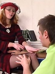 Female co-worker in black tights wetting cock before taking it up her muff