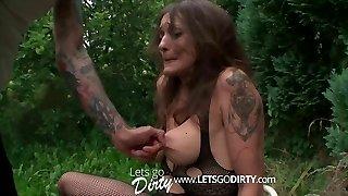 Pony-tailed French maid in black pantyhose getting nailed on all her fours