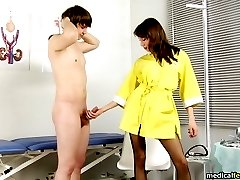 Genital exam and femdom trampling at a male physical