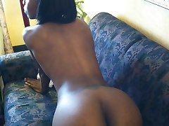 Rogue and wicked chocolate ebony Mochi reveals her killer body with those big nipples and eager...