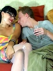 Kinky sissy puts on female clothes talking a girl into drunken strapon sex