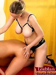 Two sexy amateurs enjoy making lesbian sex with strapon dildo poundings