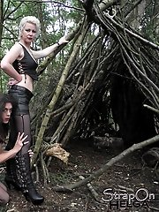 This horny crossdresser gets punished outdoors by sexy FemDom Helga