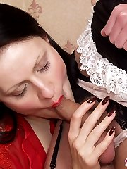 Sissy French maid eagerly putting his ass up for strap-on fuck with hottie