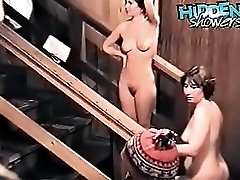 Busty babes taking shower and shaving their legs were caught by voyeur cam