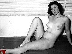 Nude vintage ladies at home