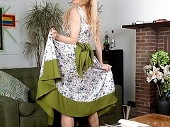 Blonde, Michelle in full skirted dress and vintage nude nylons!