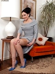 Sexy, brunette Sophia in girdle, long line bustier and ff nylons!