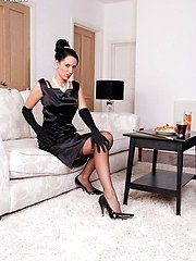 Tammy in cute vintage lingerie and those long sheer black nyloned legs, shes just the thing for...